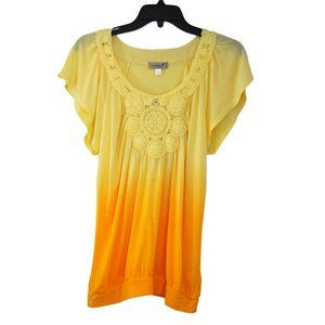 One World Women's Tops Gradient Yellow SIZE M